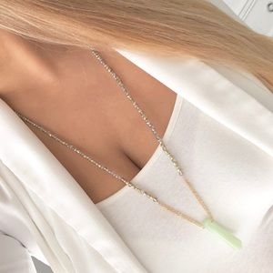 Express gold beaded green stone necklace